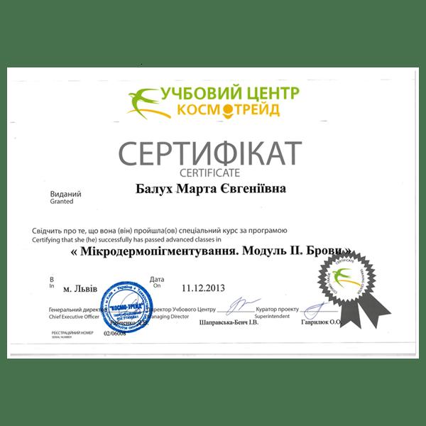 Марта Балух дипломи Львів, Марта Балух сертифікати Львів